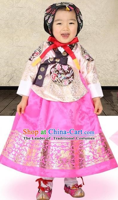 Korean Traditional Hanbok Korea Children Embroidered Beige Blouse and Dress Fashion Apparel Hanbok Costumes for Kids