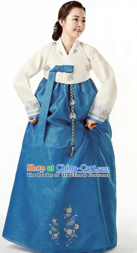 Korean Traditional Garment Palace Hanbok White Blouse and Blue Dress Fashion Apparel Bride Costumes for Women