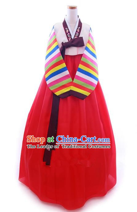 Korean Traditional Garment Palace Hanbok Pink Blouse and Red Dress Fashion Apparel Bride Costumes for Women