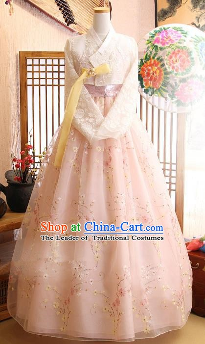 Korean Traditional Garment Palace Hanbok White Lace Blouse and Dress Fashion Apparel Bride Costumes for Women