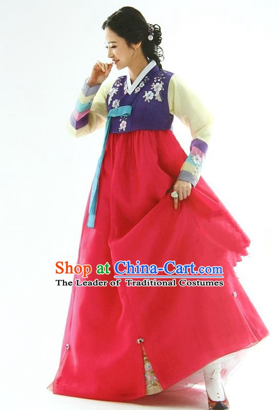 Korean Traditional Garment Palace Hanbok Purple Blouse and Red Dress Fashion Apparel Bride Costumes for Women