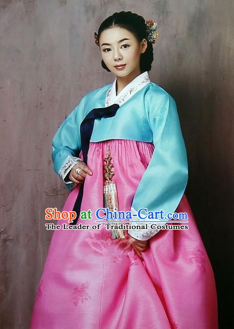 Korean Traditional Garment Palace Hanbok Blue Blouse and Pink Dress Fashion Apparel Bride Costumes for Women