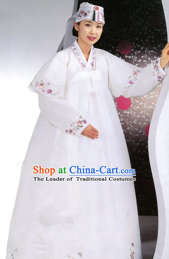 Korean Traditional Garment Palace Hanbok Wedding White Dress Fashion Apparel Bride Costumes for Women