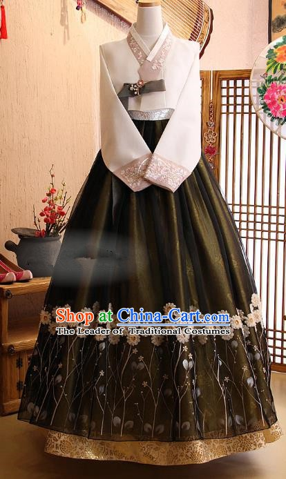 Korean Traditional Garment Palace Hanbok Atrovirens Dress Fashion Apparel Bride Costumes for Women