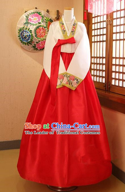 Korean Traditional Garment Palace Hanbok Red Dress Fashion Apparel Bride Costumes for Women