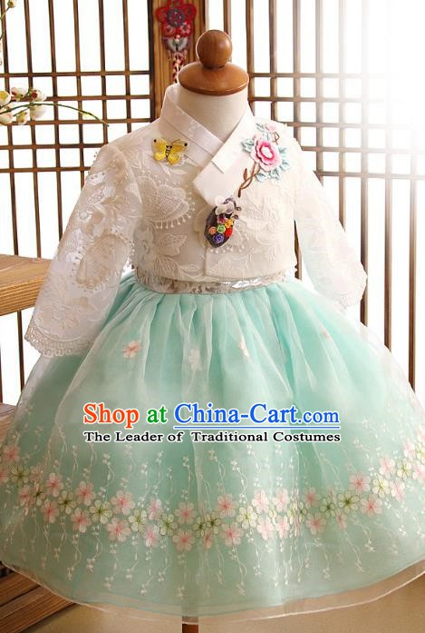 Korean Traditional Hanbok Korea Children White Lace Blouse and Green Dress Fashion Apparel Hanbok Costumes for Kids