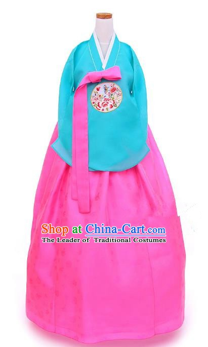 Korean Traditional Handmade Palace Hanbok Blue Blouse and Pink Dress Fashion Apparel Bride Costumes for Women