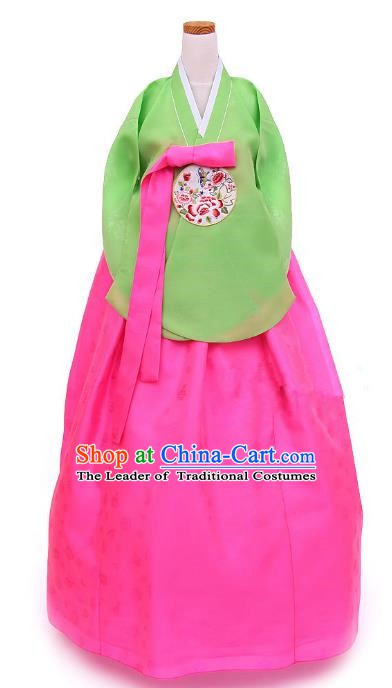 Korean Traditional Handmade Palace Hanbok Green Blouse and Pink Dress Fashion Apparel Bride Costumes for Women