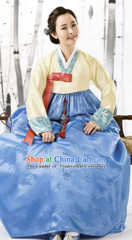 Korean Traditional Handmade Palace Hanbok Yellow Blouse and Blue Dress Fashion Apparel Bride Costumes for Women