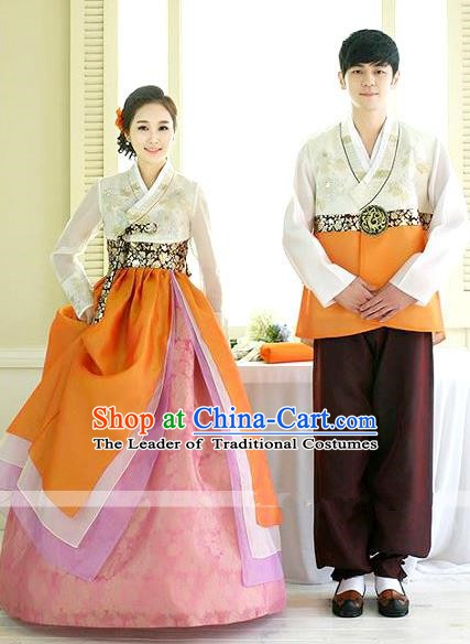 Asian Korean Traditional Palace Orange Hanbok Clothing Ancient Korean Bride and Bridegroom Costumes Complete Set