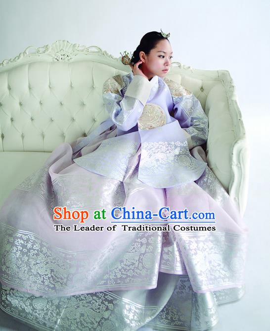 Korean Traditional Handmade Palace Hanbok Lilac Blouse and Pink Dress Fashion Apparel Bride Costumes for Women
