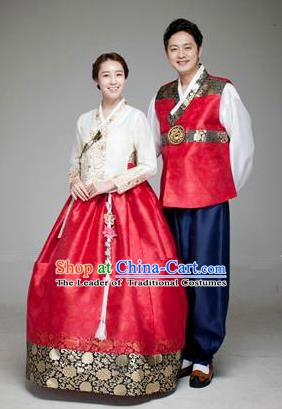Asian Korean Traditional Palace Hanbok Clothing Ancient Korean Bride and Bridegroom Costumes Complete Set
