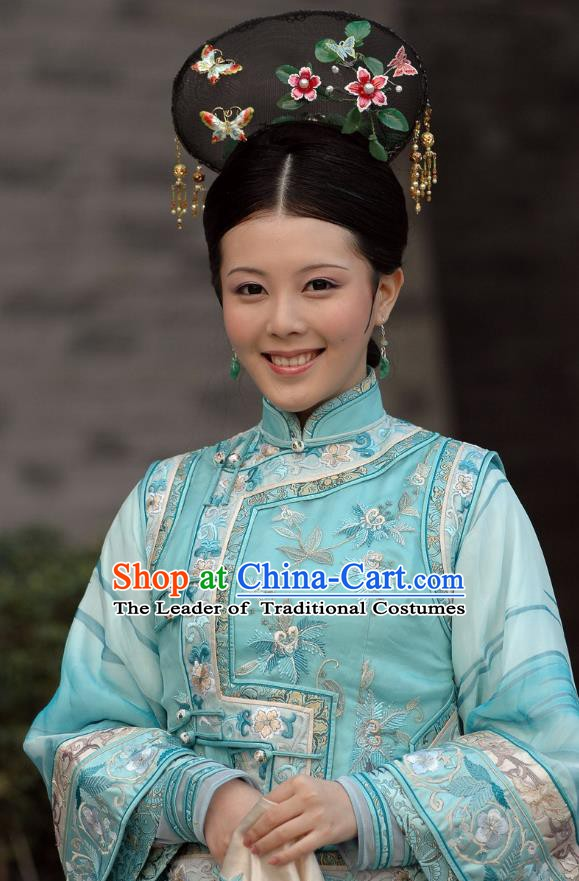 Chinese Ancient Qing Dynasty Palace Lady Dress Princess Embroidered Costume for Women