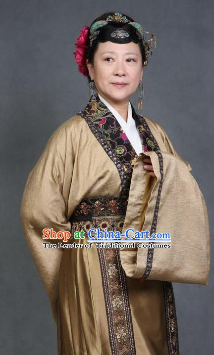 Chinese Ancient Novel Character A Dream in Red Mansions Dowager Aunt Xue Costume for Women