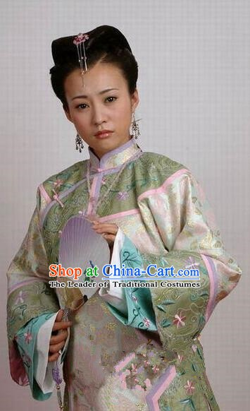 Chinese Ancient Manchu Palace Dress Qing Dynasty Imperial Consort of Shunzhi Kong Sizhen Costume for Women
