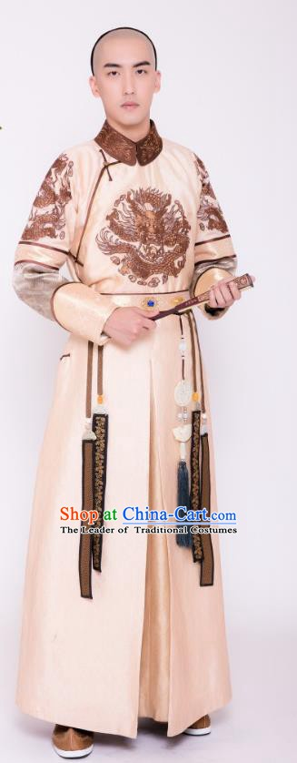 Chinese Ancient Qing Dynasty Crown Prince of Kangxi Yinreng Historical Costume for Men