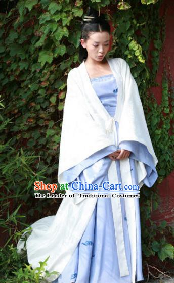 Chinese Ancient Princess Costume Ming Dynasty Palace Lady White Dress for Women
