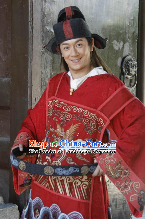 Traditional Chinese Ancient Ming Dynasty County Magistrate Replica Costume for Men