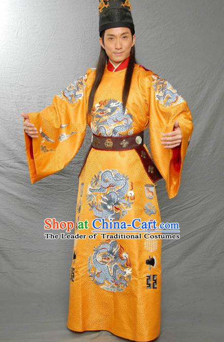 Traditional Chinese Ancient Ming Dynasty Jianwen Emperor Zhu Yunwen Imperial Robe Replica Costume for Men