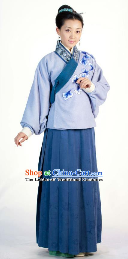 Ancient Chinese Ming Dynasty Historical Costume Female Embroider Blue Replica Costume for Women