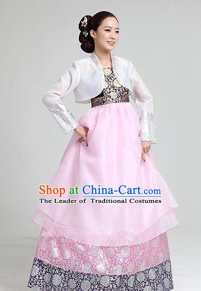 Top Grade Korean Bride Traditional Palace Hanbok White Blouse and Pink Dress Fashion Apparel Costumes for Women