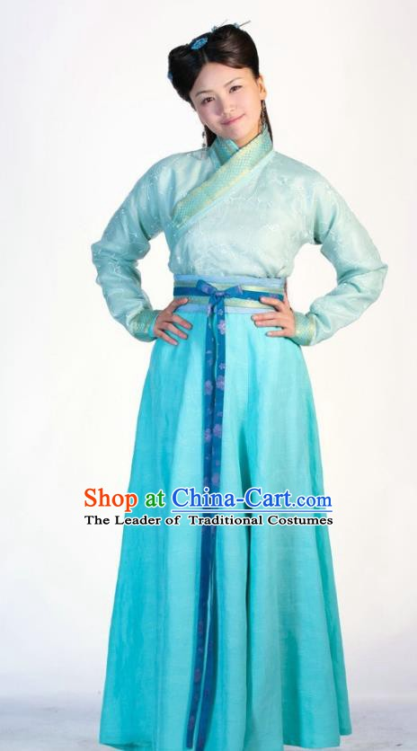 Ancient Chinese Ming Dynasty Historical Costume Nobility Lady Blue Dress Embroidered Replica Costume for Women