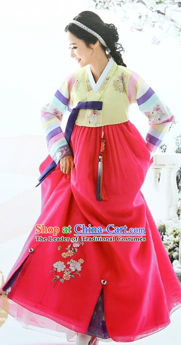 Top Grade Korean Bride Traditional Palace Hanbok Yellow Blouse and Red Dress Fashion Apparel Costumes for Women