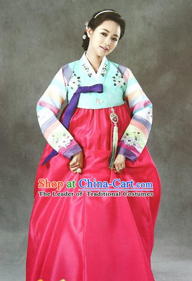 Top Grade Korean Bride Traditional Palace Hanbok Blue Blouse and Rosy Dress Fashion Apparel Costumes for Women