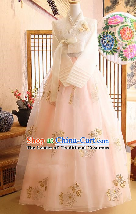 Top Grade Korean Palace Hanbok Bride Traditional White Blouse and Pink Dress Fashion Apparel Costumes for Women