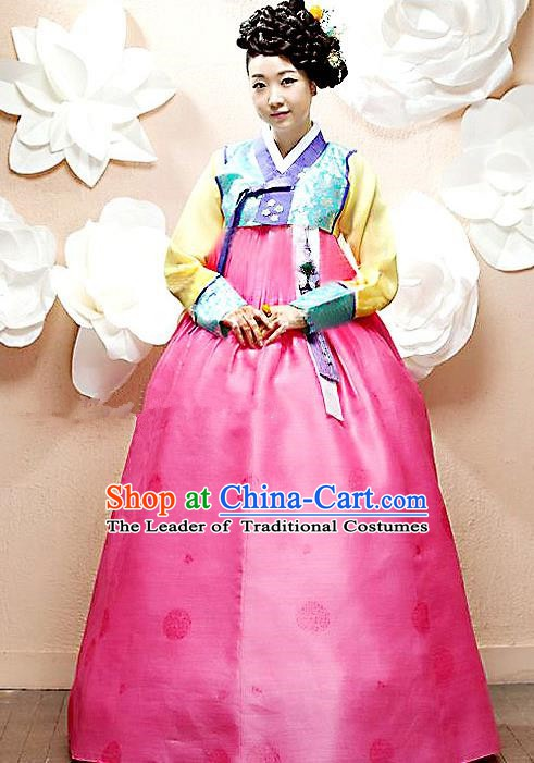 Top Grade Korean Palace Hanbok Bride Traditional Blue Blouse and Pink Dress Fashion Apparel Costumes for Women