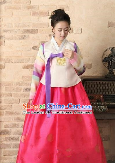 Top Grade Korean Palace Hanbok Bride Traditional Beige Blouse and Pink Dress Fashion Apparel Costumes for Women