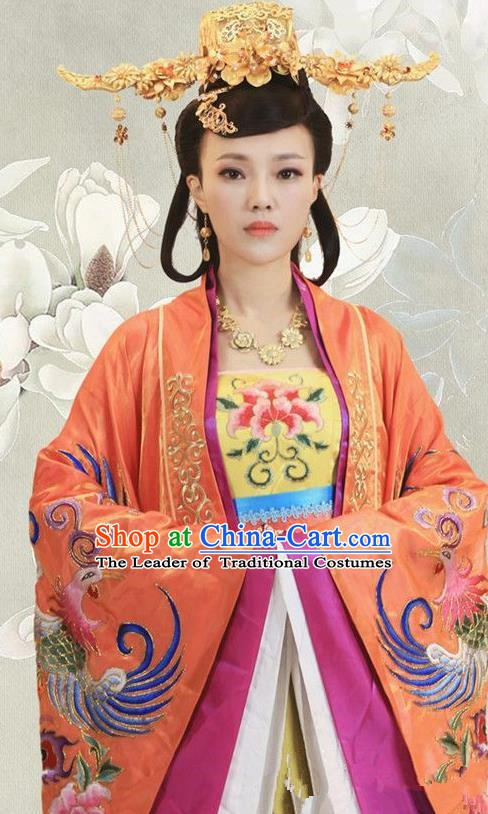 Ancient Chinese Ming Dynasty Empress Xu of Zhu Di Embroidered Dress Replica Costume and Headpiece Complete Set for Women