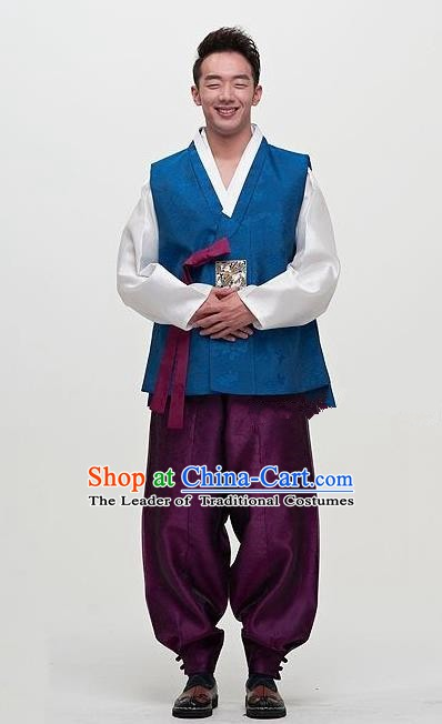 Asian Korean Male Hanbok Ancient Korean Traditional Bridegroom Costumes for Men