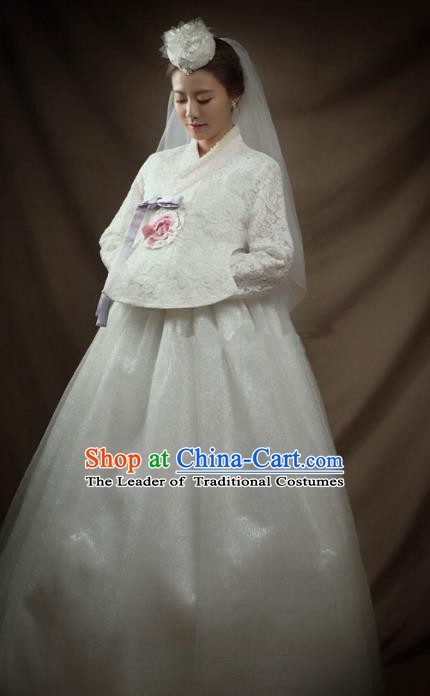 Top Grade Korean Palace Hanbok Bride Traditional White Lace Blouse and Dress Fashion Apparel Costumes for Women