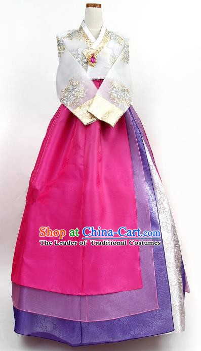 Top Grade Korean Palace Hanbok Bride Traditional White Blouse and Rosy Dress Fashion Apparel Costumes for Women