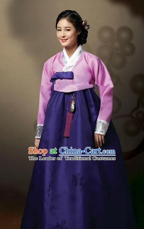 Top Grade Korean Hanbok Traditional Pink Blouse and Purple Dress Fashion Apparel Costumes for Women
