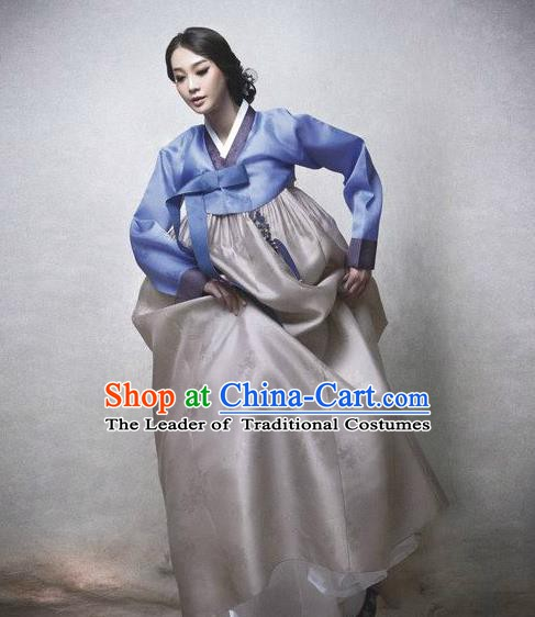 Top Grade Korean Hanbok Traditional Blue Blouse and Grey Dress Fashion Apparel Costumes for Women
