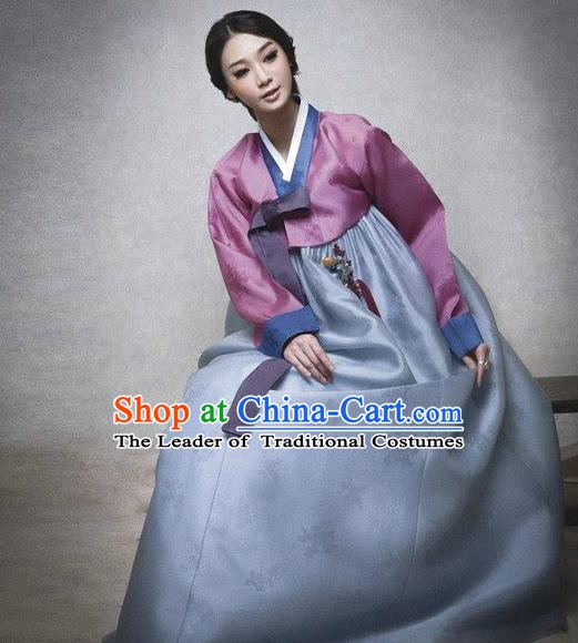 Top Grade Korean Hanbok Traditional Pink Blouse and Blue Dress Fashion Apparel Costumes for Women