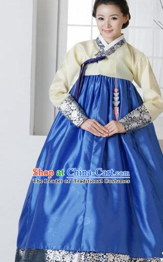Top Grade Korean Traditional Hanbok Yellow Blouse and Blue Dress Fashion Apparel Costumes for Women