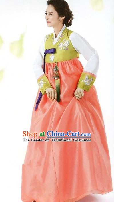 Top Grade Korean Traditional Hanbok Green Blouse and Orange Dress Fashion Apparel Costumes for Women