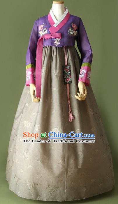 Top Grade Korean Traditional Hanbok Purple Blouse and Grey Dress Fashion Apparel Costumes for Women