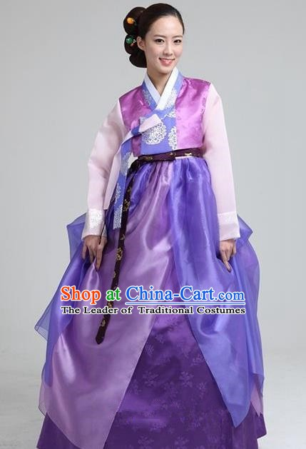 Top Grade Korean Traditional Hanbok Blouse and Purple Dress Fashion Apparel Costumes for Women