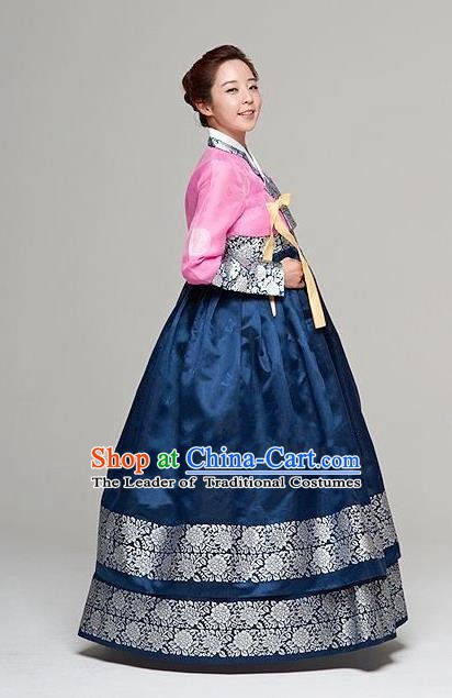 Top Grade Korean Traditional Hanbok Bride Pink Blouse and Navy Dress Fashion Apparel Costumes for Women