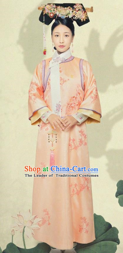 Chinese Qing Dynasty Manchu Princess Rongxian Embroidered Dress Ancient Palace Lady Replica Costume for Women