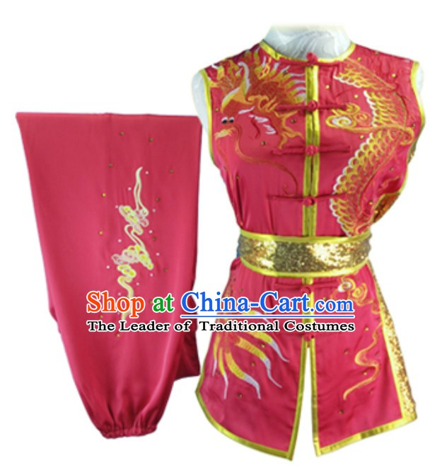 Lucky Red Custom Made Top Nanquan Southern Fist Sleeveless Best and the Most Professional Kung Fu Competition Clothes Contest Suits for Adults Children