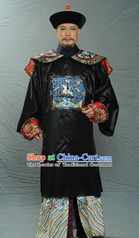 Chinese Ancient Qing Dynasty Manchu Ministry of Personnel Rong Boxuan Replica Costume for Men