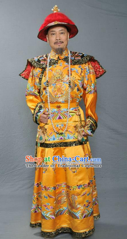 Chinese Ancient Qing Dynasty Emperor Kangxi Xuanye Imperial Robe Replica Costume for Men
