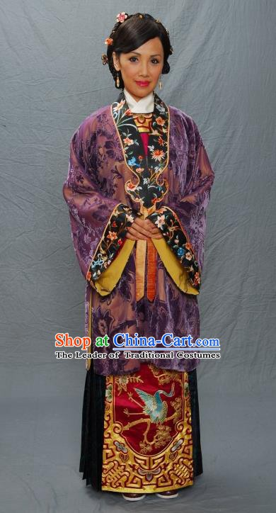 Chinese Ancient Ming Dynasty Mother of Tang Bohu Embroidered Costume for Women