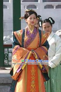 Chinese Ancient Ming Dynasty Empress Dowager Li Wanli Embroidered Dress Costume for Women
