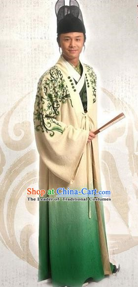 Traditional Chinese Ming Dynasty Ancient Gifted Scholar Calligrapher and Painter Wen Zhengming Costume for Men